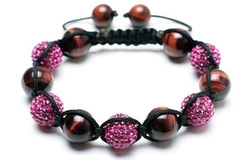 Pink Tiger Eye shamballa bracelet | Pink shamballa bracelet | Crystal Pave Argil Disco Beads | women's shamballa bracelet (by BAGATI CRYSTO)