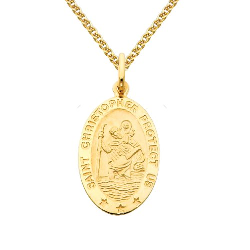 14k Yellow Gold Religious Saint Christopher Medal Pendant with 1.5mm Flat Open Wheat Chain Necklace - 24