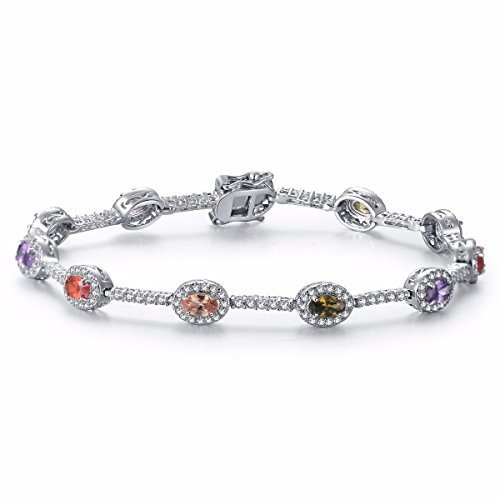 Caperci White Gold Plated Diamond Accent Created Gemstones Tennis Bracelet for Women, 7.25