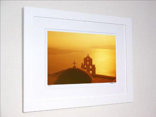 アートフォト ギリシャ エーゲ海 サントリーニ 二つの十字架と夕焼け/ 絵画 壁掛け のあゆわら