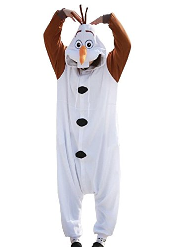 Women Men Olaf Unisex Adult Animal Sleep Suit Cosplay Kigurumi Costume Pajamas Outfit Costume Nightclothes Onesies Clothing Pajamas Tracksuit