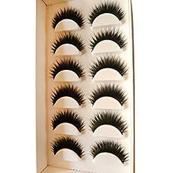 OVERMAL Women 6 Pair Handmade Natural False Eyelashes