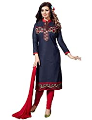 Ethnic For You Navy Blue And Rani Pink Cotton Top Embroidered Work With Border Unstiched Dress Material