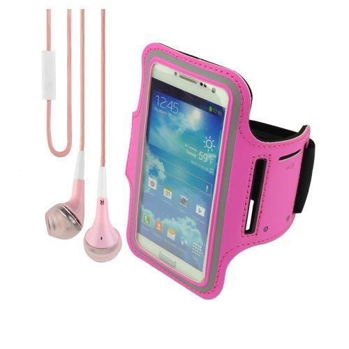 Universal Neoprene Workout Armband For Samsung Galaxy S4 Siv Siii S3 (Rose) + Vangoddy Lightweight Headphone With Mic ,Pink