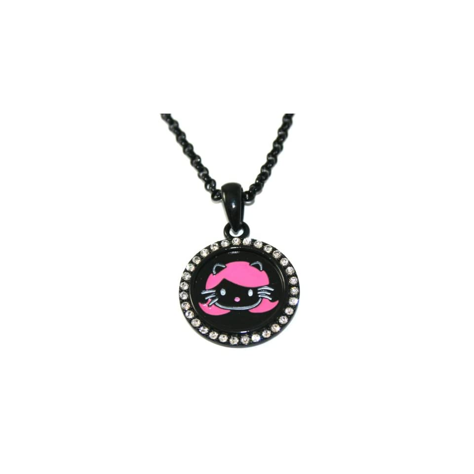 Black & Hot Pink Harajuku Kitty Charm Necklace with Ice BLING Crystals