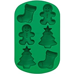 Wilton 6 Cavity Silicone Stocking, Boy and Tree Mold Pan
