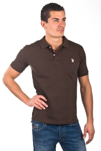 U.S.Polo Assn. men's Poloshirt Pique darkbrown USP1032, Größe:M