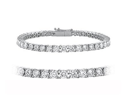 1.30cttw Natural White Round Diamond (VS2-SI1-Clarity,G-H-Color) Tennis Bracelet in 14k White Gold.
