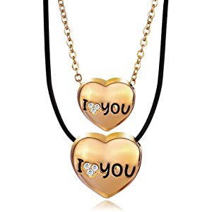 Pugster 2 Pieces of I Love Couple Heart Gold Pendant