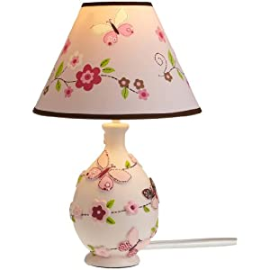 carter 39 s butterfly flowers lamp base and shade pink choc 10 x 17 x 7. Black Bedroom Furniture Sets. Home Design Ideas