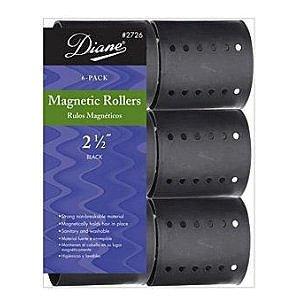 Diane Magnetic Roller, Black, 2-1/2 Inch , 6 Count