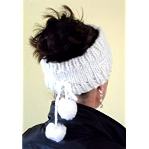 Unique White Knit Head Band with Tassles