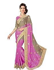 New Bollywood Pink Ethnic Saree Work Wedding Party Wear Sari