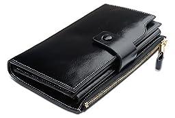 YALUXE Women\'s Large Capacity Luxury Wax Genuine Leather Wallet With Zipper Pocket Black