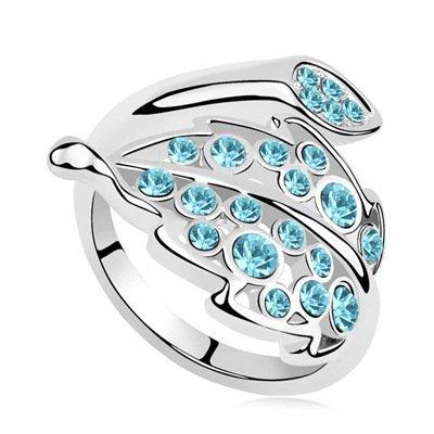 Fashion semplice piuma cristallo anello, 6