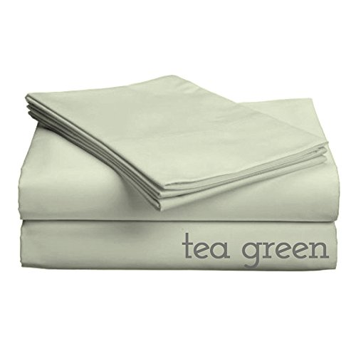 """Classic Collection-300Ct Combed Cotton Percale Weave Low Profile Up To 11"""" Sheet Set Full Tea Green"""