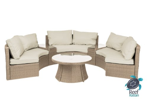 Reef Rattan Comoros Half-Moon 6 Pc Curved Bench Sofa Set - Natural Rattan / Beige Cushions image