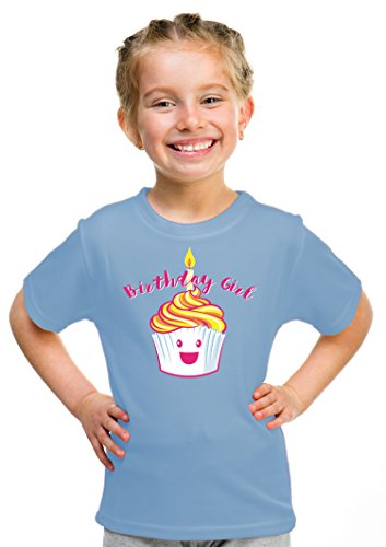 Birthday Girl Happy Cupcake | Cute Little Girls' B-day Party Top Unisex T-shirt - (Youth,S)
