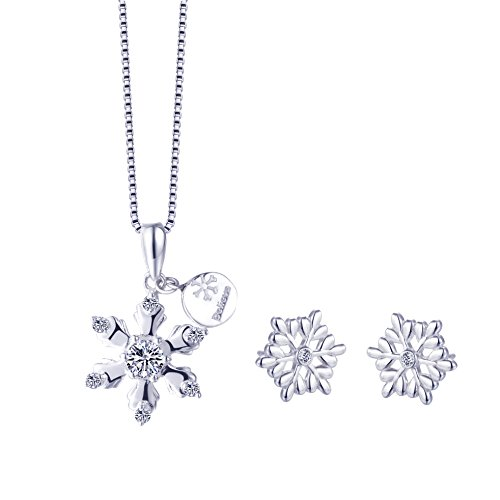 SILVERAGE Sterling Silver Snowflake Necklace&Earrings Jewelry Set