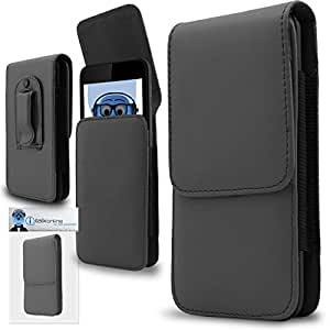 iTALKonline Gigabyte Gsmart G1342 Houston Grey PREMIUM PU Leather Vertical Executive Side Pouch Case Cover Holster with Belt Loop Clip and Magnetic Closure