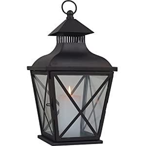 Royce Lighting RLCA7043-23 Outdoor Portable Candle Lantern with Clear Glass in Oil Rubbed Bronze Finish