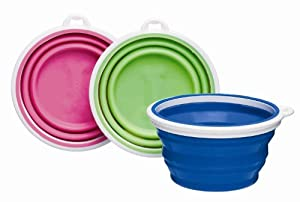 Bamboo Silicone Pop-Up Travel Bowl, 1-Cup, Colors Vary