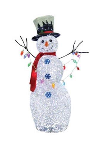 "Celebrations Yard Decor Holly Jolly Twinkling Led Snowman Holding Light 48"" Brass White"