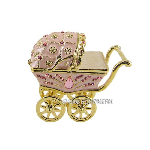Baby Stroller Jewelry Trinket Box Bejeweled Pink