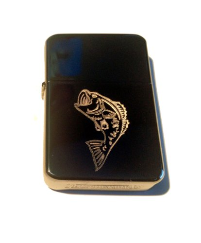 Vector KGM Thunderbird Custom Lighter - BIG Mouth Bass Fish Fishing Logo High Polish Black Sparkle ICE Chrome Rare!