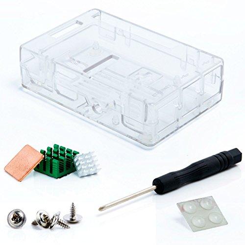 Aukru Transparent Boitier Case pour Raspberry Pi 3 Model B / Raspberry Pi 2 modele B et RasPi B+ (B Plus) avec 3 set dissipateur thermique