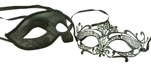 New Majestic Masquerade Couples Mask Set - His & Hers Mask [Black Themed]