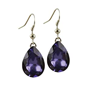 Flawless Purple Velvet Crystal Drop Earrings With Gift Box