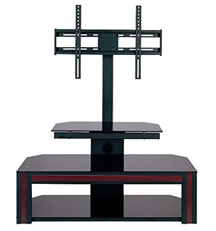 Home Source Industries TV11207 Modern TV Stand with Mount and Shelving for Components, Black