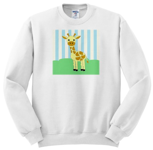 Ss_15433_5 Janna Salak Designs Jungle Animals - Baby Animals Blue Giraffe - Sweatshirts - Adult Sweatshirt 2Xl front-1008464