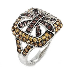 Sterling Silver Light Brown & Champagne Ferroni Swarovski Zirconia Fleur De Lis Right Hand Ring