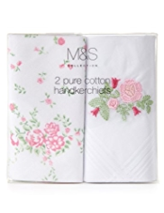 2 Pack M&S Collection Pure Cotton Floral Handkerchiefs
