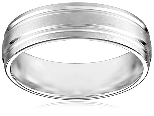 Men's 10k White Gold 6mm Comfort Fit Plain Wedding Band with Satin Finish Featuring Two High Polished Center Cuts