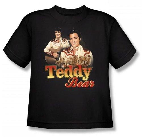 Elvis - Teddy Bear Youth T-Shirt In Black, Size: