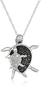 """XPY 10k White Gold and Black and White Diamond """"Mother and Baby Turtle"""" Pendant Necklace, 18"""""""