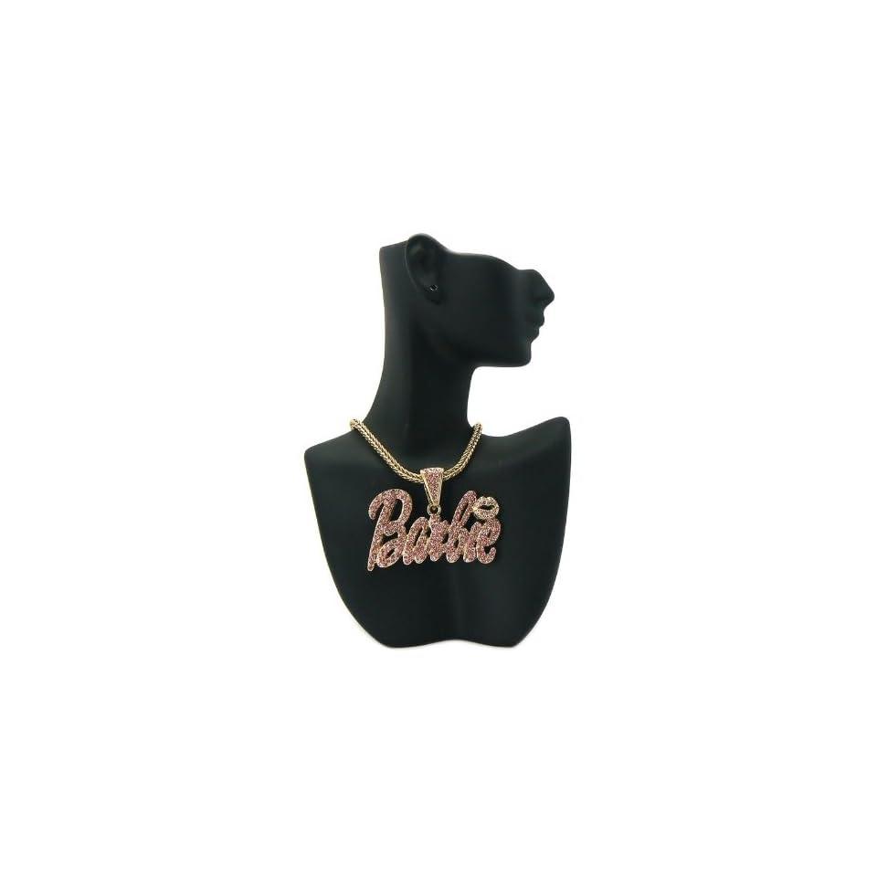 MP680 NICKI MINAJ BARBIE Pendant w/Franco Chain Double Stone Gold/Pink