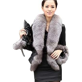 Easy Womens Faux Fur Collar Coat Leather Jacket Winter Warm Overcoat