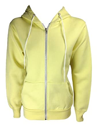 The Home of Fashion New Womens Lemon Fleece Lined Long Sleeved Hooded Hoody Jumper Size 8-16 (14)