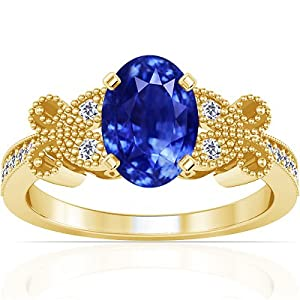 18K Yellow Gold Oval Cut Blue Sapphire Ring With Sidestones