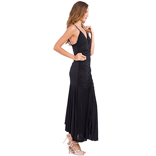 Lady Sexy Dance Skirt Back Strips Long Dress Cocktail Party By easybuyitnow (S, Black)