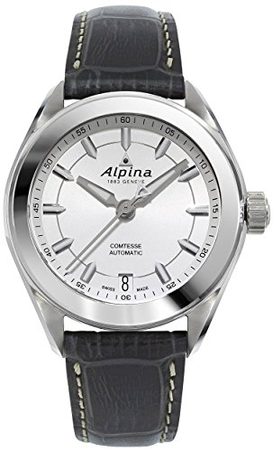 Alpina Comtesse Sport Automatic Steel Womens Strap Watch Silver Dial Date AL-525SF2C6