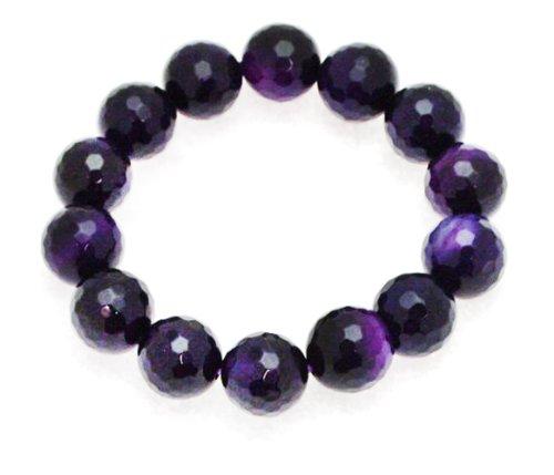 12mm Faceted Brazil Purple Bangle Type Adjustable Bracelet