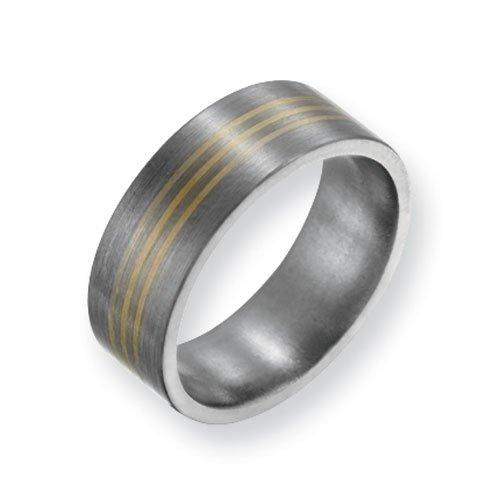 Titanium 14k Gold Inlay 8mm Satin Finish Comfort Fit Wedding Band Ring (SIZE 8.5 )