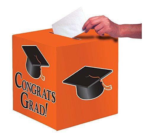 Creative Converting Congrats Grad Card Holder Box, Sun Kissed Orange