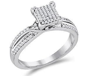 Micro Pave Diamond Engagement Ring 10k White Gold Bridal (1/4 Carat), Size 5