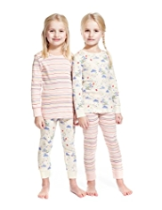 2 Pack Pure Cotton Bird & Striped Pyjamas